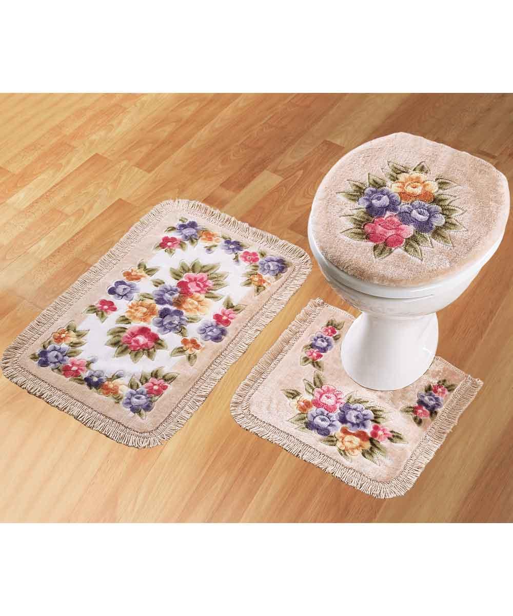 bathroom mat set set of 3 pedistal bath mat and toilet cover ebay