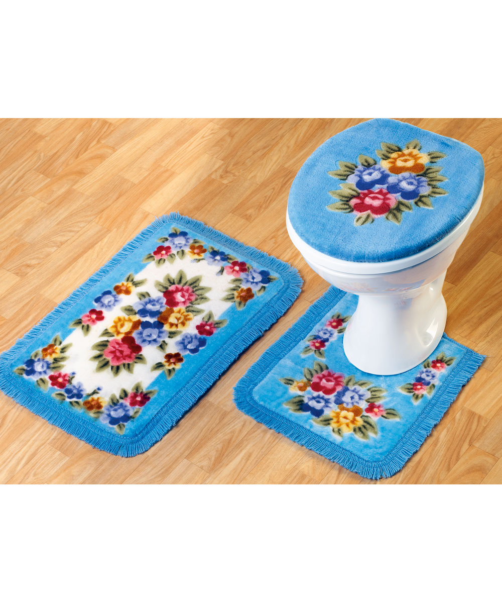 Bathroom mat set set of 3 pedistal bath mat and toilet for Washroom set