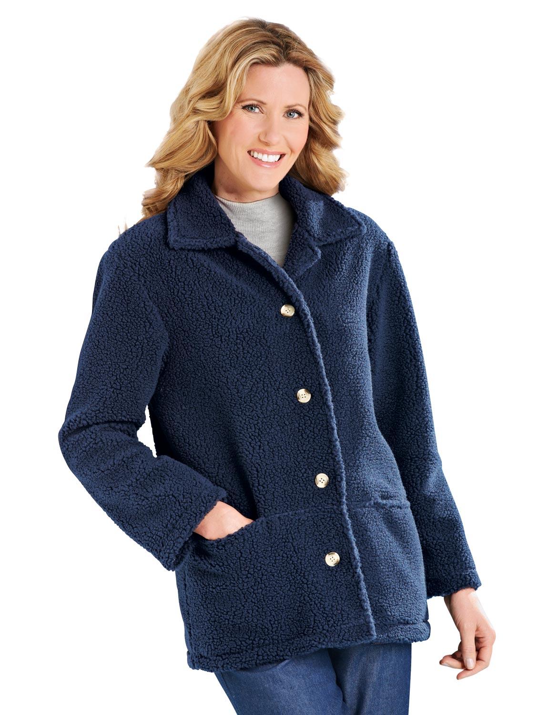 Ladies Fully Lined Sherpa Fleece Jacket Ebay