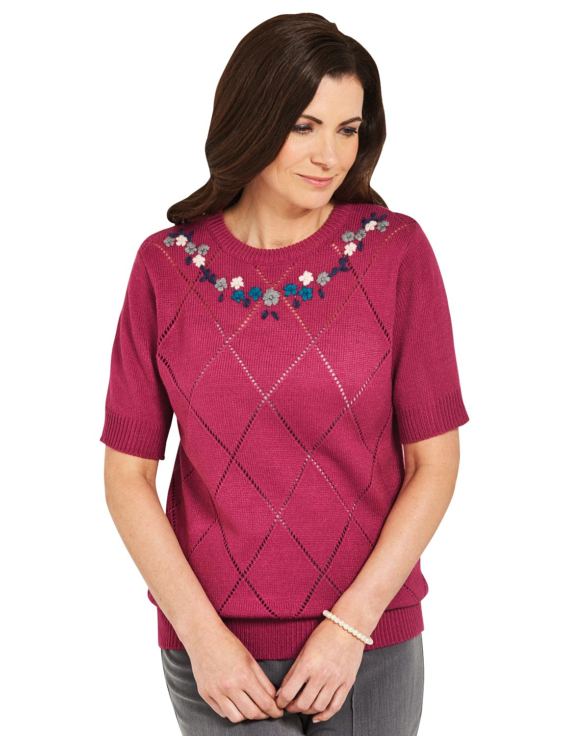 Ladies Hand Embroidered Short Sleeve Pointelle Jumper