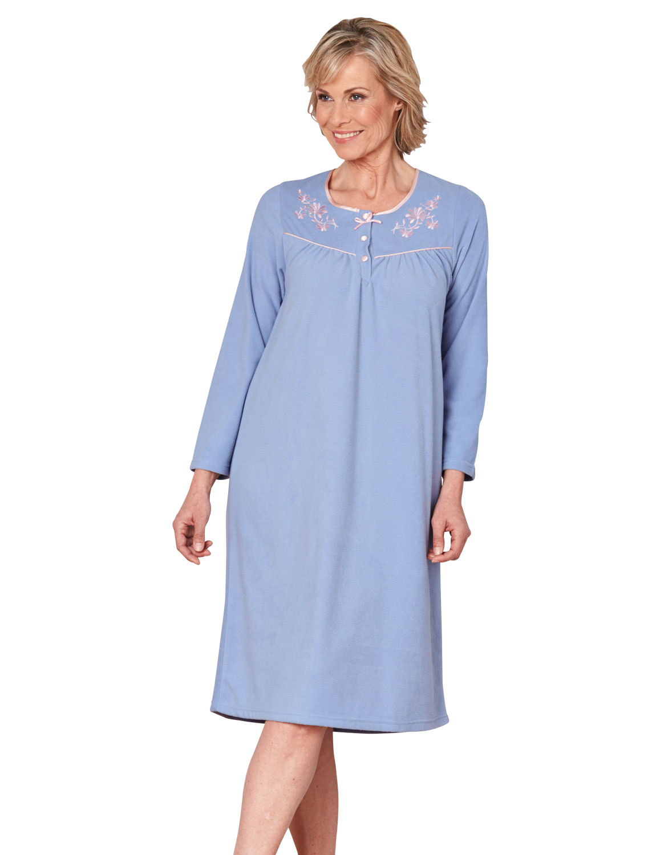 Ladies embroidered microfleece nightdress ebay