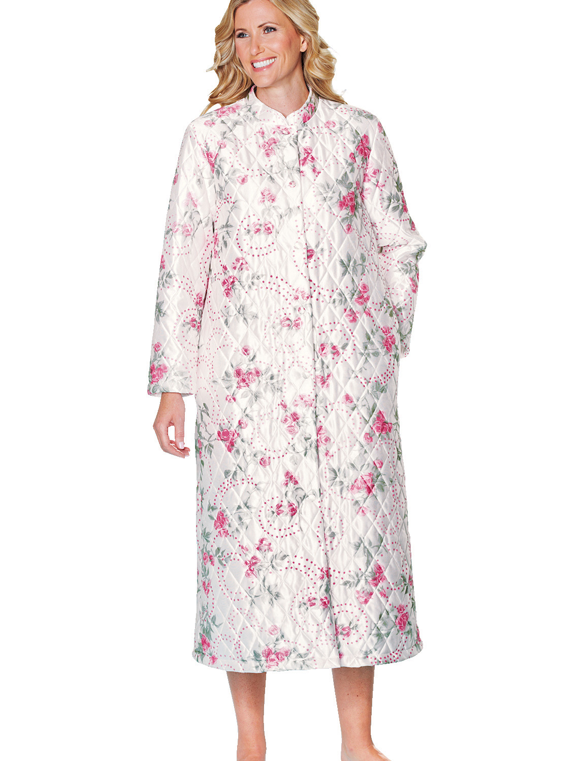 Ladies Mandarin Collar Quilted Housecoat Bathrobe Dressing ...