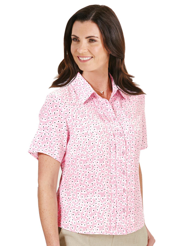 ladies short sleeve pintuck printed blouse ebay