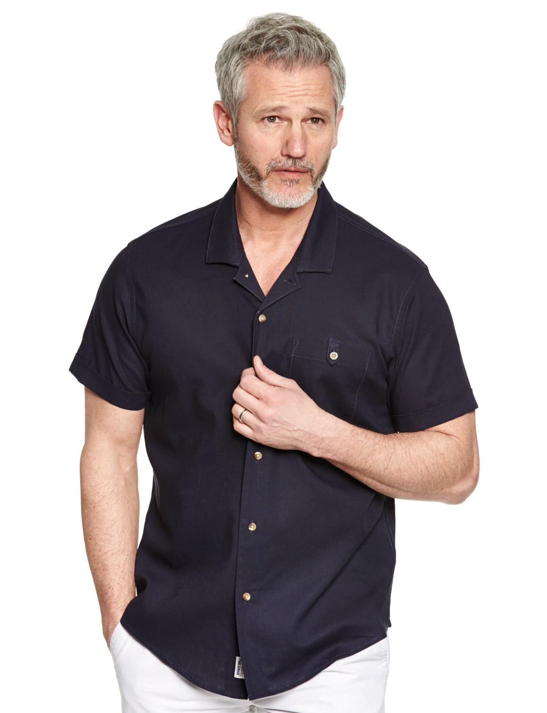 Mens threadbare short sleeve revere collar linen shirt ebay for Mens short sleeve linen dress shirts