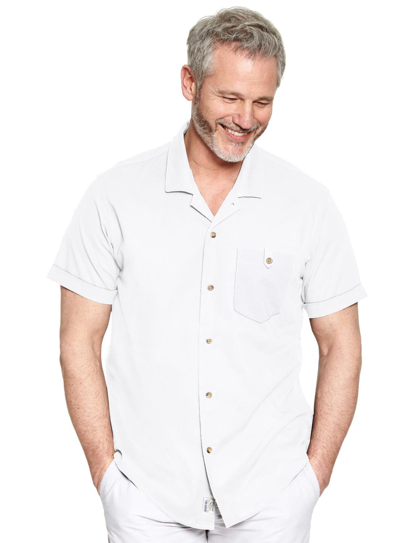 Mens threadbare short sleeve revere collar linen shirt ebay for Short sleeve linen shirt