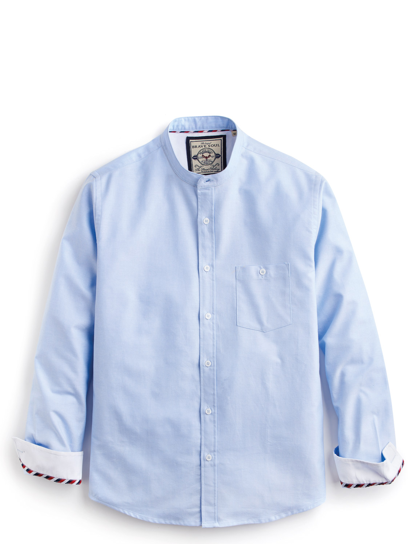 Mens brave soul grandad collar cotton shirt ebay Mens grandad collar shirt