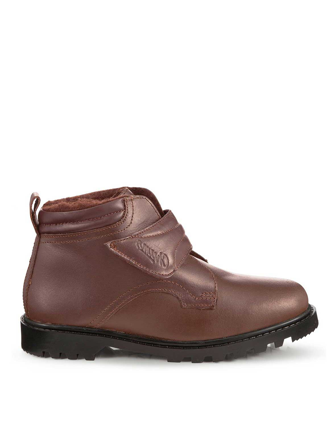 Mens Real Leather Warm Lined Touch Fastening Boots