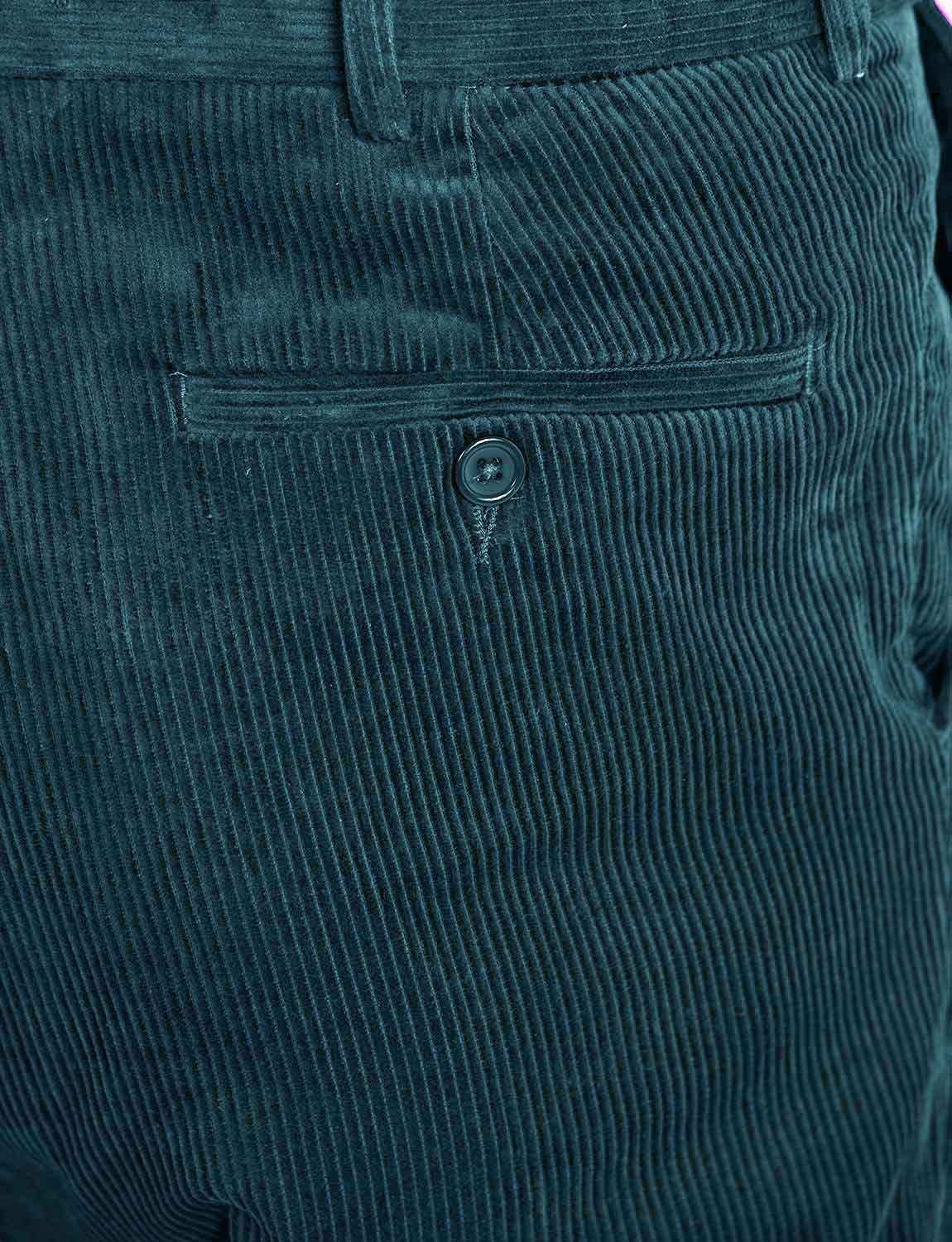 Mens Corduroy Cotton Trouser Pants With Hidden Extra Waistband