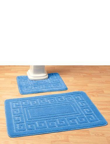 Greek Key Bathroom Mat Set