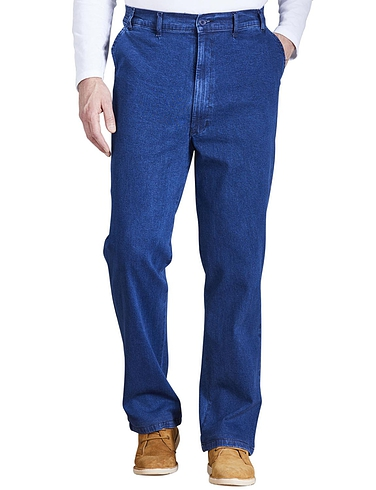 High Waisted ElasticatedDenim Trousers