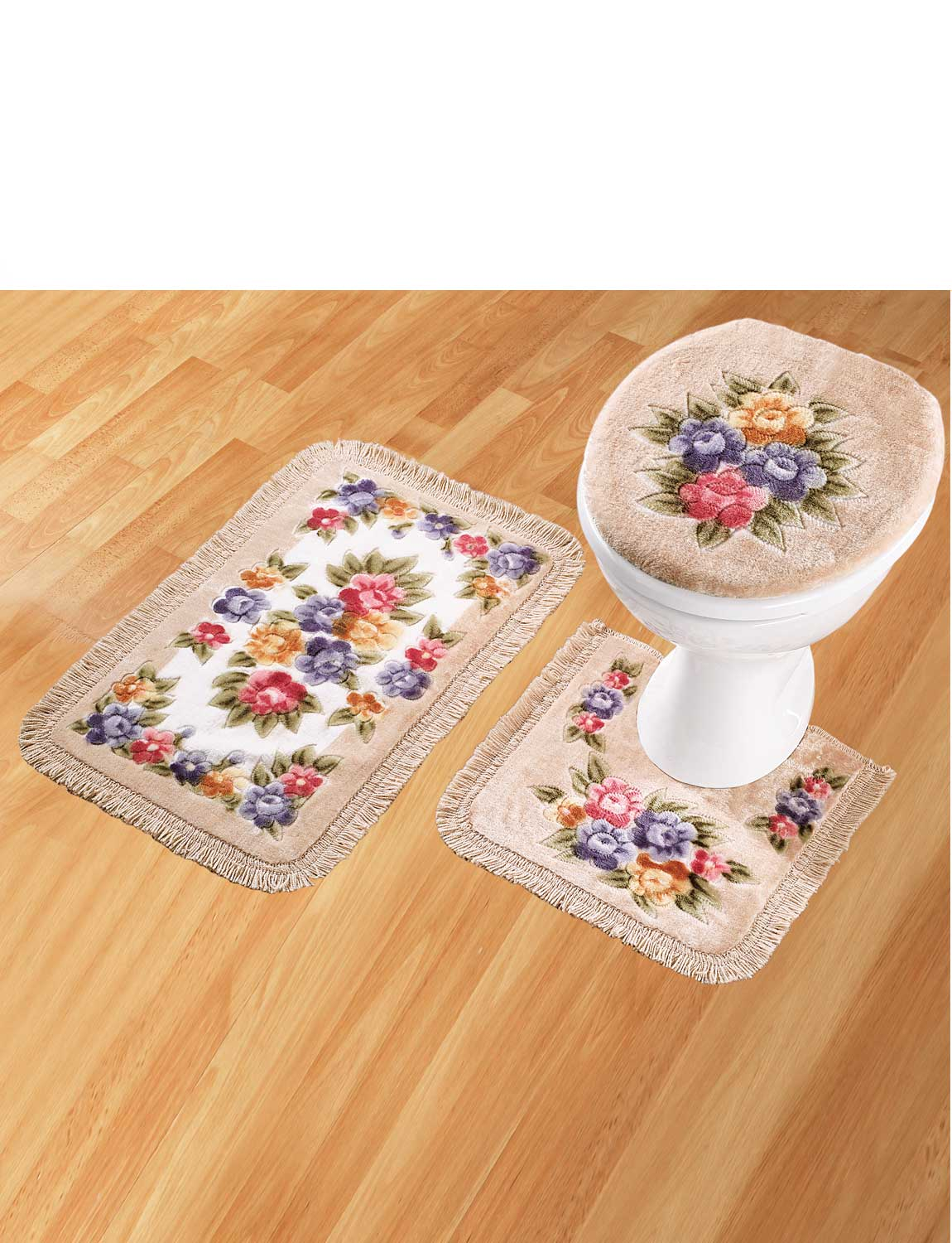 Bathroom mat set set of 3 pedistal bath mat and toilet for Bathroom picture sets