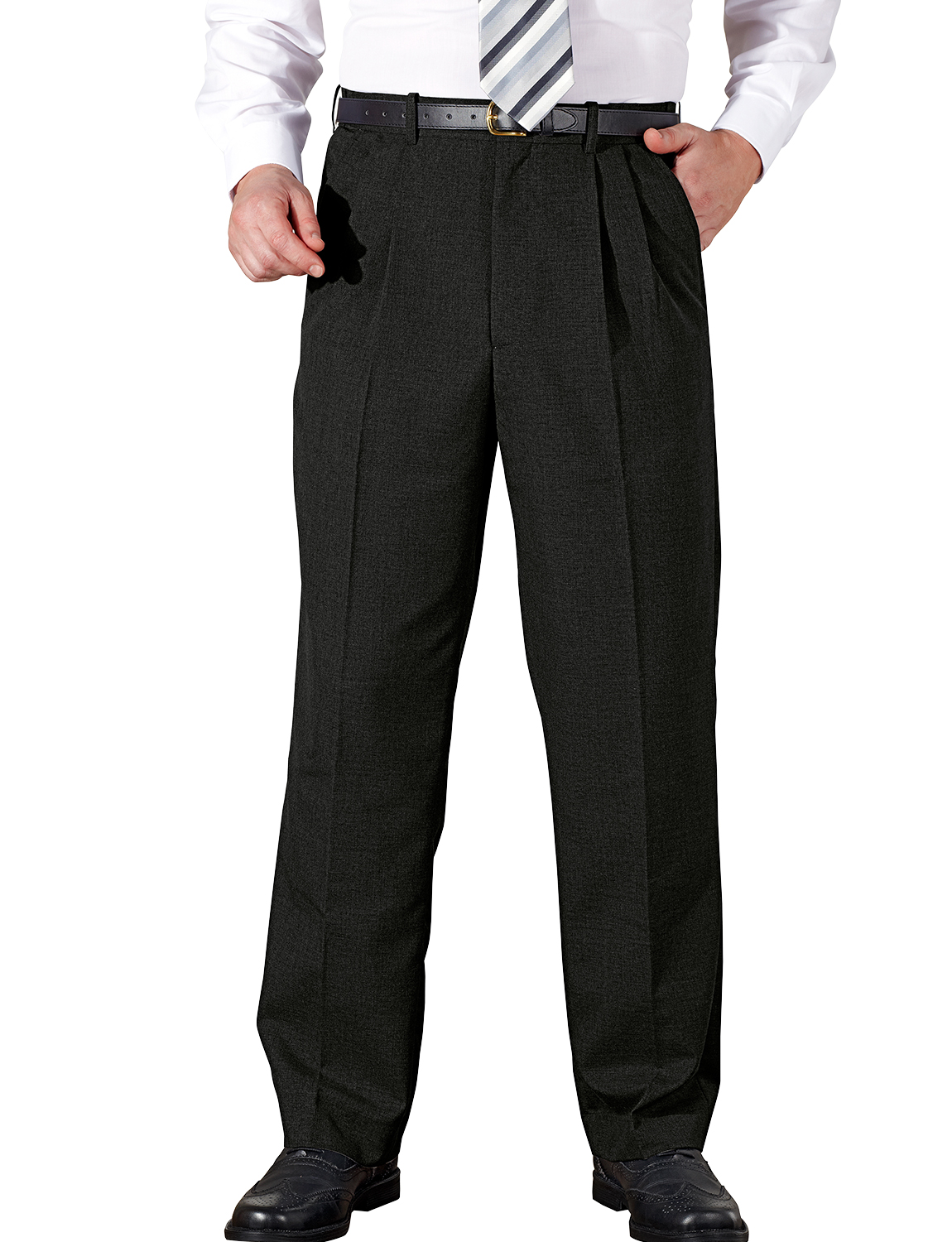 Mens High Waisted with Hidden Waistband Pleated Trouser Pant